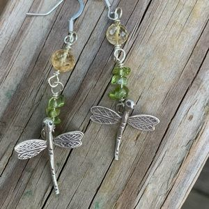 faceted Crystal Citrine,Peridot/SS Dragon fly